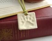 Bear Paw Print Square Pendant