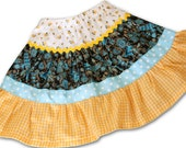Reserved listing for JakeGigiLolasMommy - Toddler baby knee length, elastic waist, white, yellow and blue cloud nine twirly skirt