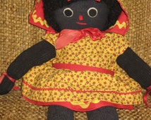"Rare Vintage Pickaninny Black Sock Doll Yarn Hair 14"" Tall Hand Made"