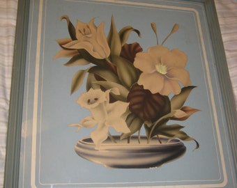 Vintage 1930's Shabby and Chic Blue & White Flower Picture Wooden Frame