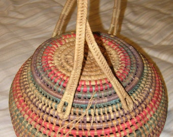 Vintage Early American African Descent Covered Basket with Handles