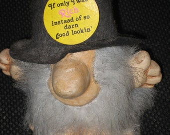 Vintage Unique Troll Dated 1985  If Only I was Rich Instead Of So Darn Good Lookin'