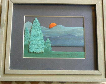 Beautiful FOLK ART Carved Painted Wood Picture Artist Nancy Lewis Ewing Setting Sun