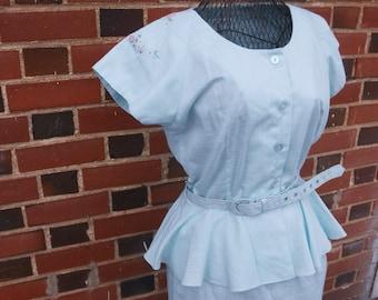 CLEARANCE Vintage Light Blue Springtime 1940s Style Two Piece Suit Secretary Chic Outfit M/L