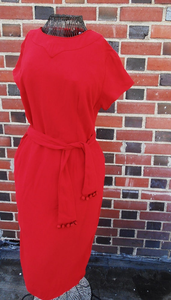 """Cherry Red Bombshell Mad Men Sixties Cocktail Joan Dress by """"Wilshire of Boston"""" M/L"""