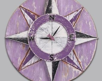 Compass Clock Purple