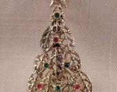 Vintage Red & Green Rhinestone Lacy Christmas Tree Pin Brooch