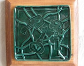 Decorative Ceramic Tile Mounted on Wooden Plaque Emerald Green with Keys