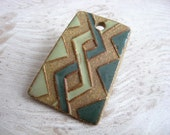 Handmade Ceramic Pendant with Knotwork Pattern in Light and Dark Green