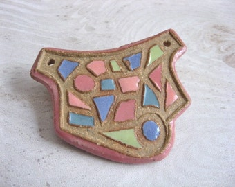 Signature Pectoral Pendant in Rose Peach Periwinkle Teal and Chartreuse