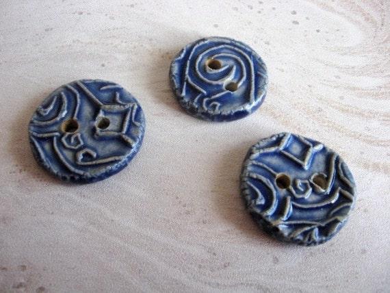 Set of Three Handmade Ceramic Buttons in Denim Blue
