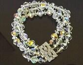 Vintage Austrian Crystal Bracelet with 3 Strands of Crystal Beads and Rhinestone Clasp, Dressy Formal Bracelet Jewelry, Fine Jewelry