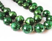 Vintage Necklace Green Beads 2 Stranded Costume Jewelry