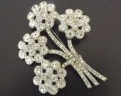 Antique Vintage Brooch With Diamond Rhinestones - Retro 1940 - Costume Jewelry - Art Deco