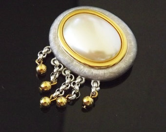 Vintage Brooch Pearl Signed Monet - Dangle Beads - Costume Jewelry - Vintage Jewelry