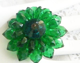Vintage Brooch Green Crystal Beads Retro 1950 Costume Jewelry Green Brooch