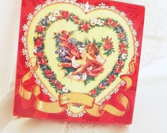 Vintage Hand Soap Valentine Cherubs Boxed Set Avon Retro 1970 Original Box