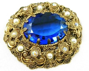 Antique Vintage Brooch Blue Rhinestone Marked Western Germany  1940 Costume Jewelry