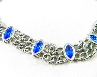 Vintage Necklace Blue Rhinestones Signed Bridal Accessories Costume Jewelry
