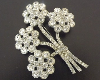 Antique Vintage Brooch With Diamond Rhinestones - Retro 1940 - Costume Jewelry - Art Deco