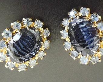 Vintage Earrings Clip On Blue Rhinestones Art Glass Retro 1950 - Costume Jewelry