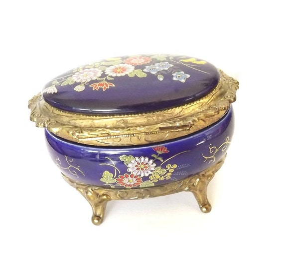 Vintage Music Box - Trinket Box - Cobalt Blue Porcelain - Oriental Flower Design - Decor - Decorative - Collectible