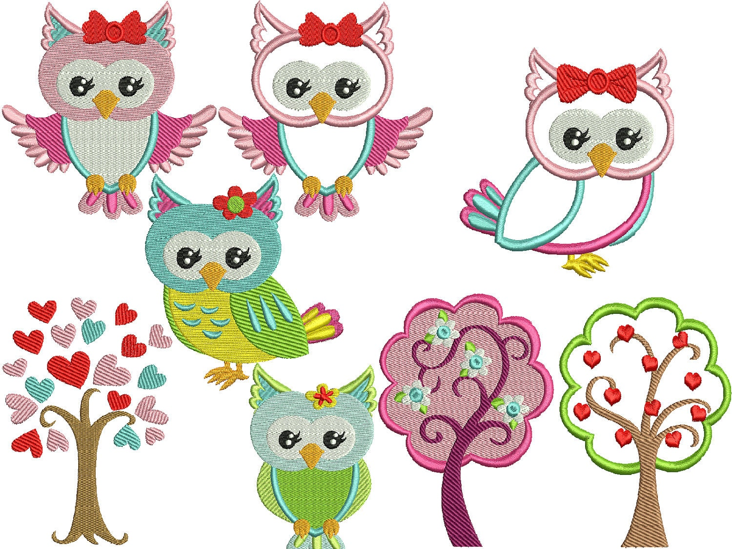 Instant Download Machine Embroidery Design Cute Owls By