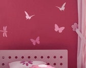 Reusable  Butterfly and Dragonfly Stencils 4 pc kit - Easy wall decor for Nurseries, Kids Rooms