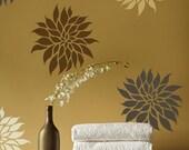Flower Stencil Dahlia Grande SM - Reusable wall stencils better than wall decals