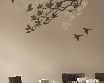Wall Stencil Magnolia - Reusable stencils better than Wall Decals