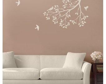 Wall Stencil Spring Songbirds - Reusable Stencil for Walls - DIY decor