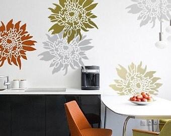 Flower Stencil Chrysanthemum Grande LG - Wall Stencils for easy decor - Better than decals
