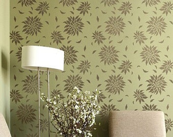 Wall Stencil Dahlia Allover - Reusable stencils just like wallpaper -DIY and save