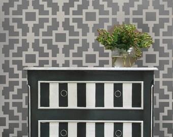 Shipibo Allover Stencil  - Reusable stencils for walls instead of wallpaper