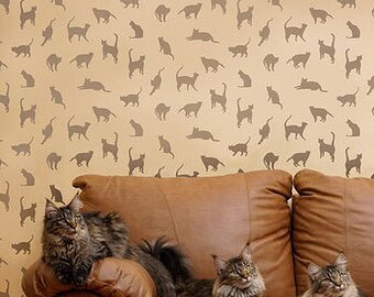 Stencil Pattern Cats,Cats,Cats - Reusable Stencils for walls and fabrics