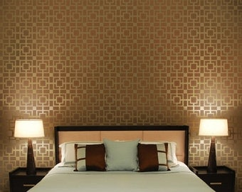Outside Of The Box Allover Stencil - Small - Reusable geometric stencil pattern for accent walls and fabrics