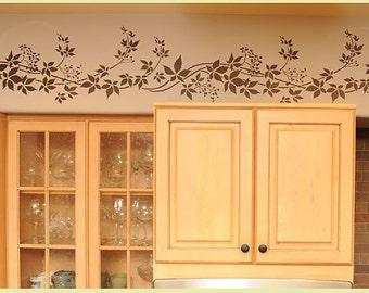 Virginia Creeper Stripe border stencil - Reusable stencil for wall decor