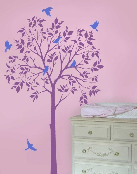 large tree and birds wall stencils reusable stencils for easy nursery decor. Black Bedroom Furniture Sets. Home Design Ideas