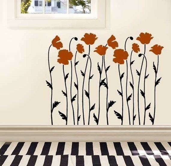 Wall Stencil Poppy Field - Reusable Stencils  better than decals