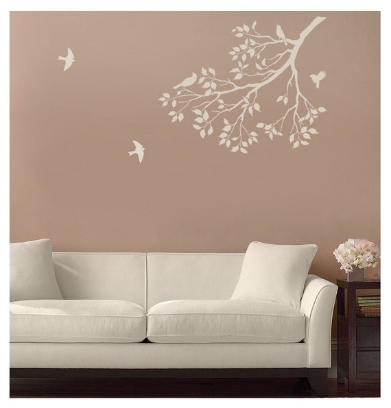 Wall stencil spring songbirds reusable stencil for walls for Stencil mobili