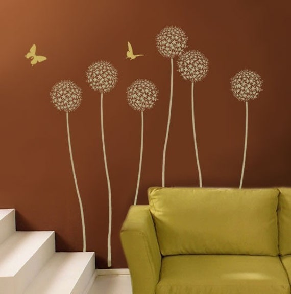 Allium gladiator flower stencil wall art stencil diy home for Stencil wall art