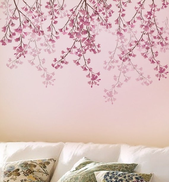 stencil for walls weeping cherry reusable stencils better. Black Bedroom Furniture Sets. Home Design Ideas