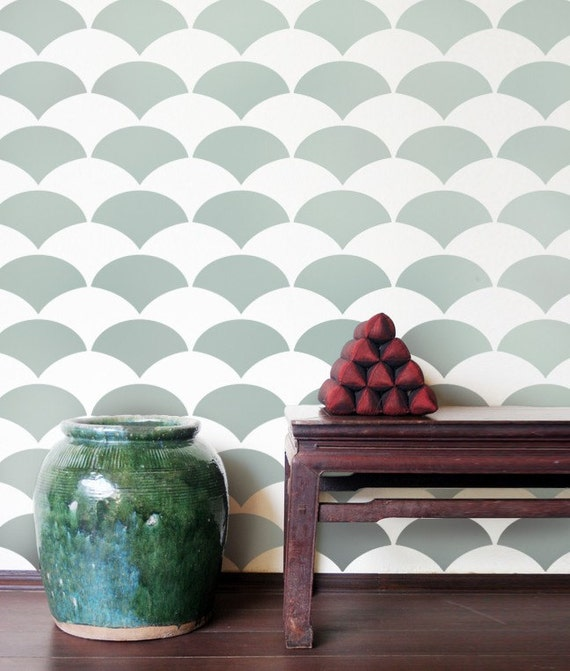 Wallpaper Wall Stencils : Allover stencil fishscale reusable stencils for walls