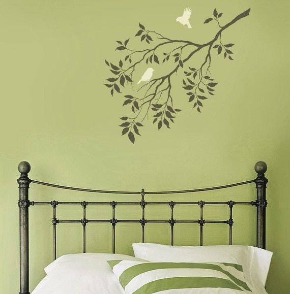 Birds on a Branch Wall Stencil - Reusable Stencils for Walls - DIY Wall Stencil Design - Bird stencils - Better than decals