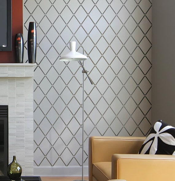 Wallpaper Wall Stencils : Wall stencil harlequin trellis reusable stencils for walls