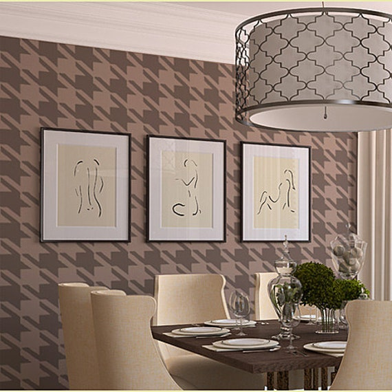 Houndstooth Wall Stencil - Large Reusable stencils for walls and crafts