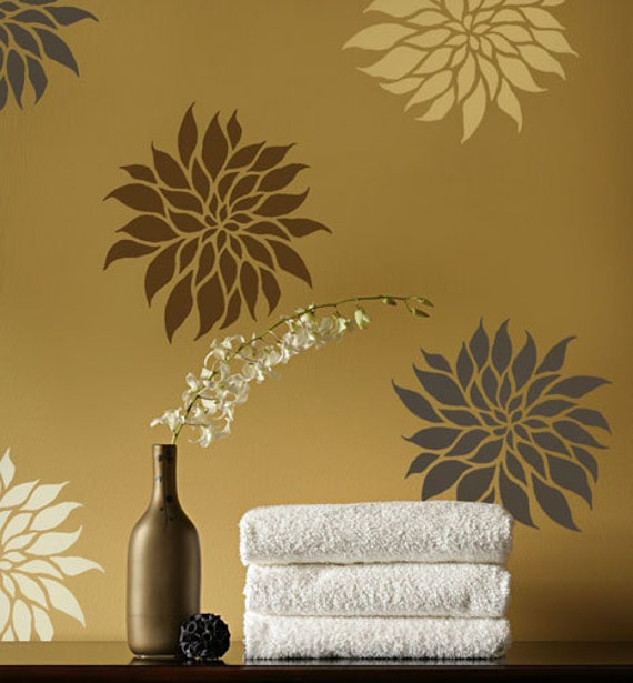 Flower Stencil Dahlia Grande SM - Reusable wall stencils better than wall decals