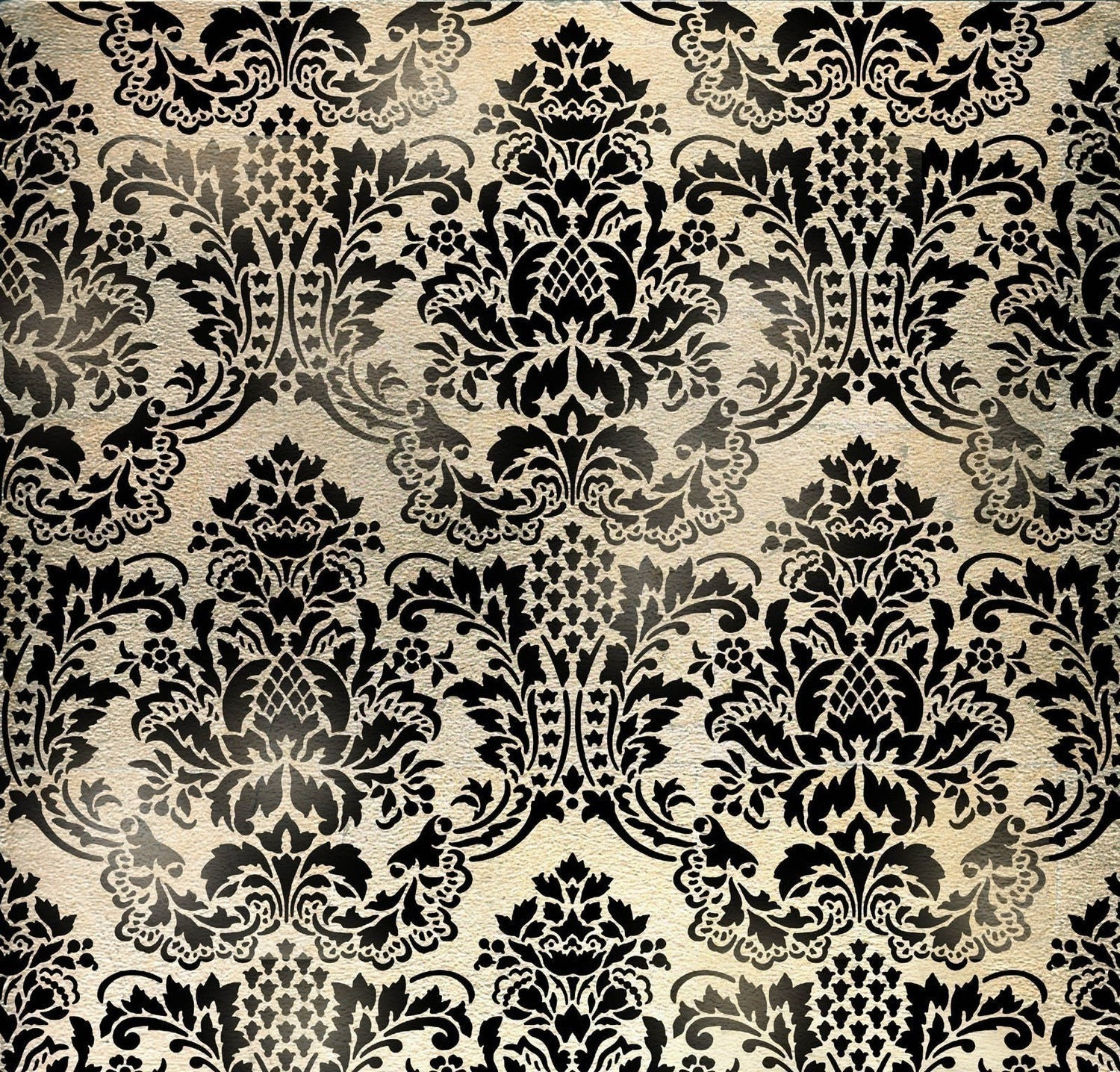 Wall stencil damask flora allover wallpaper pattern stencil for Cool wall patterns