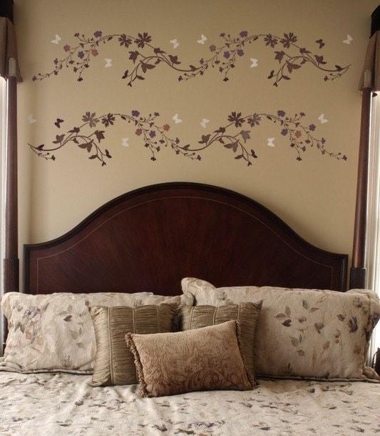wall stencil wildflower border sm reusable stencil for diy. Black Bedroom Furniture Sets. Home Design Ideas
