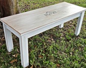 Cottage Furniture Wood coffee Table, Shabby Chic Tables, Vintage Inspired Bench, Country Living Table